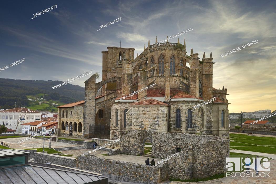 Stock Photo: Santa Maria Church, Castro Urdiales, Cantabria, Spain.