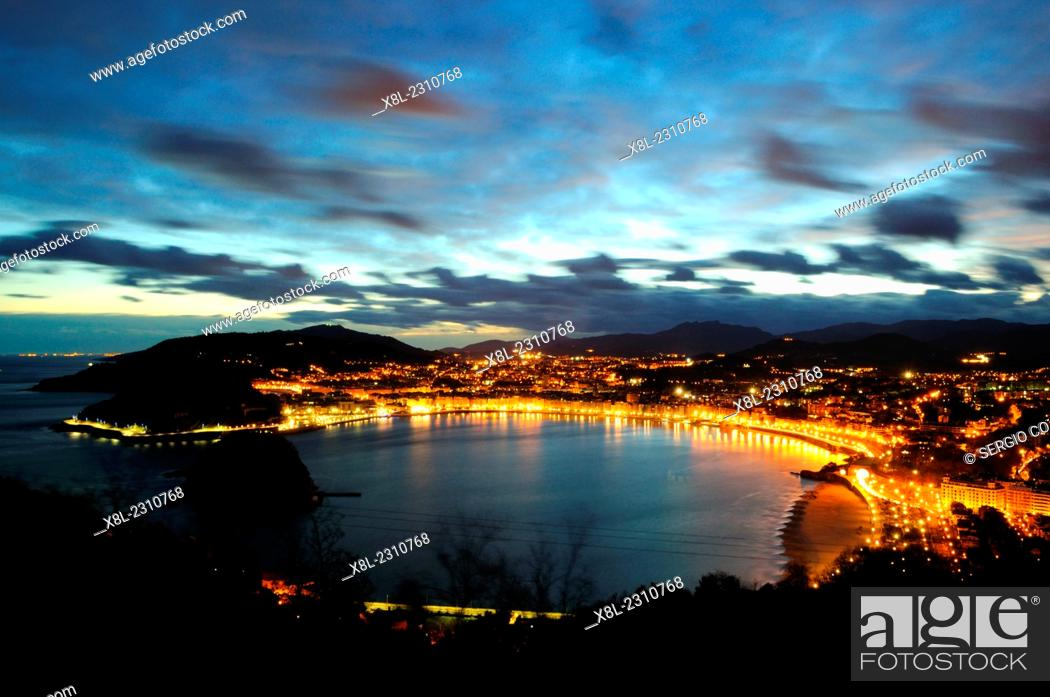 Stock Photo: sunrise on the bay of the shell from igueldo, san sebastian, Basque Country, guipuzcoa, Spain.