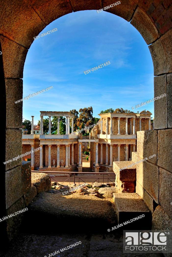 Stock Photo: Roman theater in Mérida, Spain.