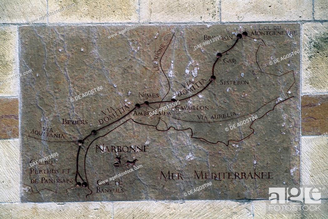 Stock Photo: Relief showing the Roman road Via Domitia's route, Place de l'Hotel de Ville, Narbonne, Languedoc-Roussillon, France.