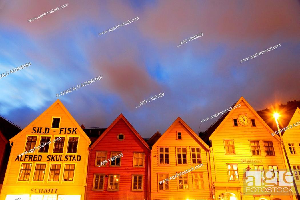 Stock Photo: Houses in the old pier, Bryggen, Bergen, Hordaland, Norway.