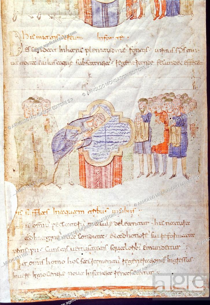 Baptism, by Unknown Artist, 10th Century, manuscript page