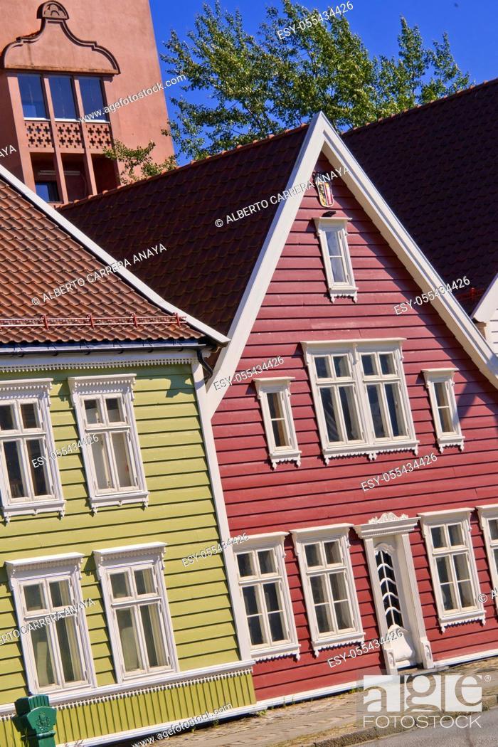 Imagen: Traditional Architecture, Old Town, Bergen, Norway, Scandinavia, Europe.