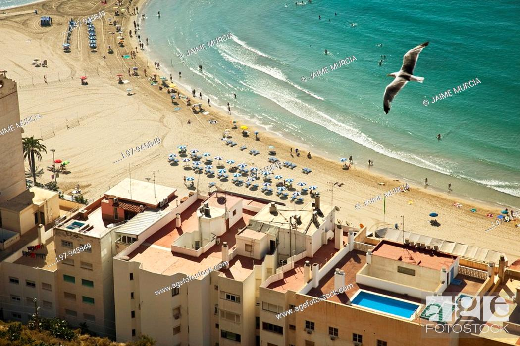 Stock Photo: View of the beach at Alicante from castle.