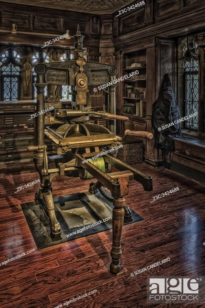 Stock Photo: Bibliographical Press - View to an Albion hand press, built in England in the 1800s.