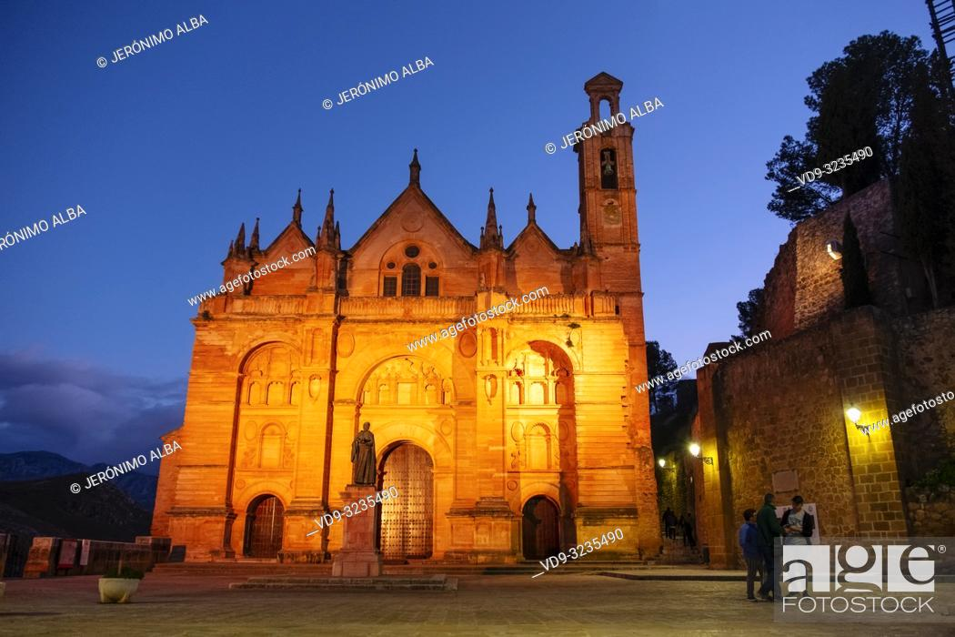 Stock Photo: Real Colegiata church Santa María la Mayor at dusk. Old town monumental city of Antequera, Malaga province. Andalusia, Southern Spain. Europe.