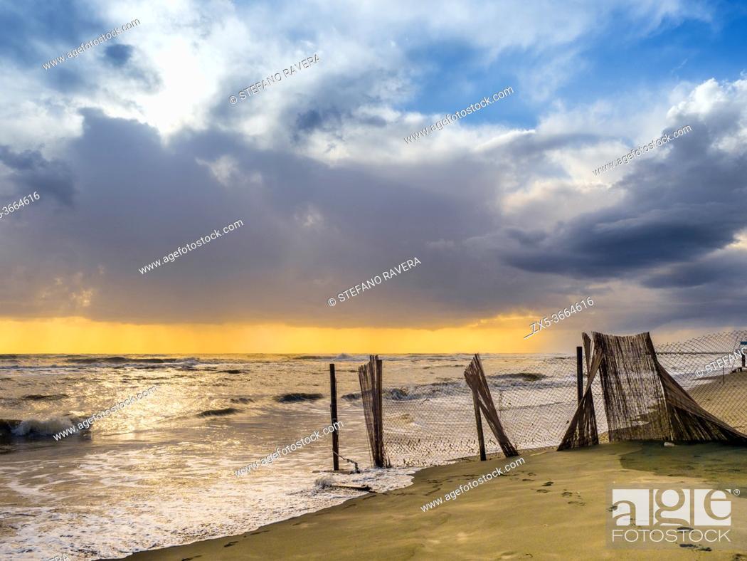 Stock Photo: Coastal scene of Ostia Lido - Rome, Italy.