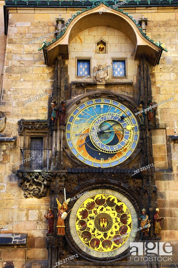 Stock Photo: The Orloj or Astronomical Clock on the Old Town City Hall in Old Town Square in Prague, Czech Republic.