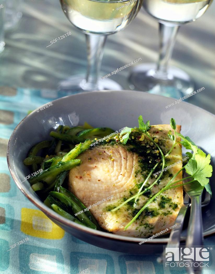 Stock Photo: White tuna with zucchinis and pesto.