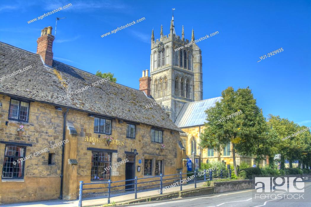 Stock Photo: HDR image of Anne of Cleaves restaurant and St Marys Church in Melton Mowbray Leicestershire UK.