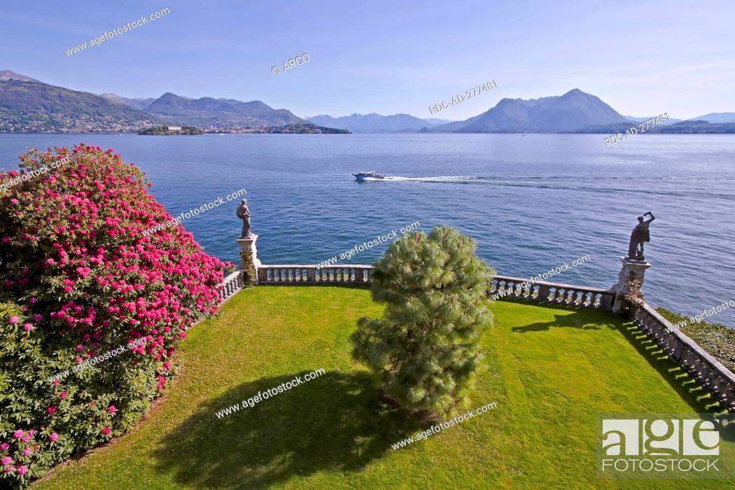 Stock Photo: Garden, Palazzo Borromeo, view on Lago Maggiore, Isle of Isola Bella, Borromean Islands, Piedmont, Italy.