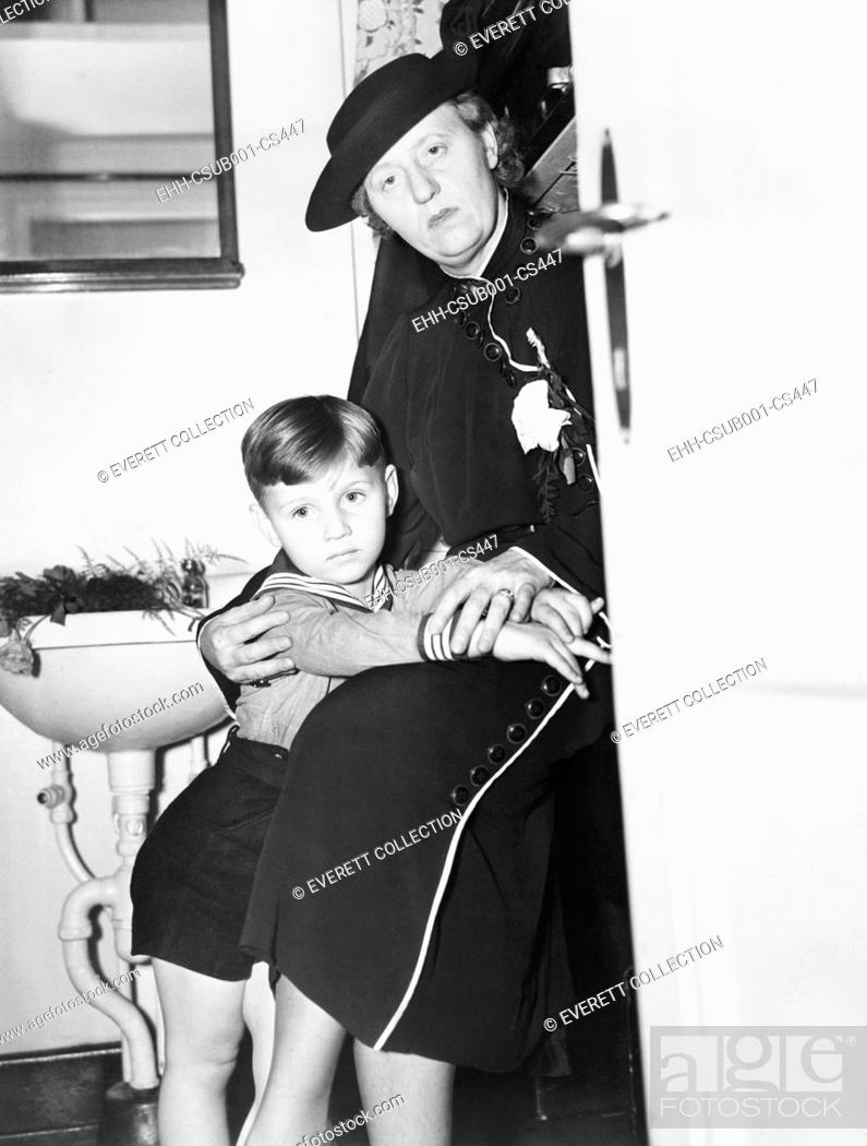 Stock Photo: Mrs. Bruno Hauptmann and her son Manfried in her state room aboard the 'Bremen'. June 12, 1936. Anna and Manfried lived near Philadelphia.
