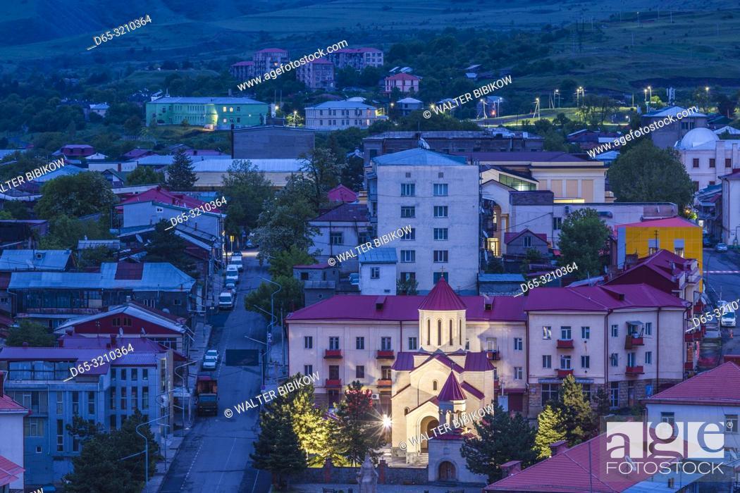 Stock Photo: Georgia, Akhaltsikhe, high angle town view , dawn.