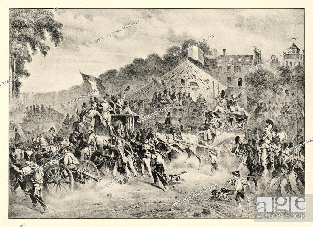 Stock Photo: Revolution of 1830, August 3. Departure of populace for Rambouillet. History of France, old engraved illustration image from the book Histoire contemporaine par.