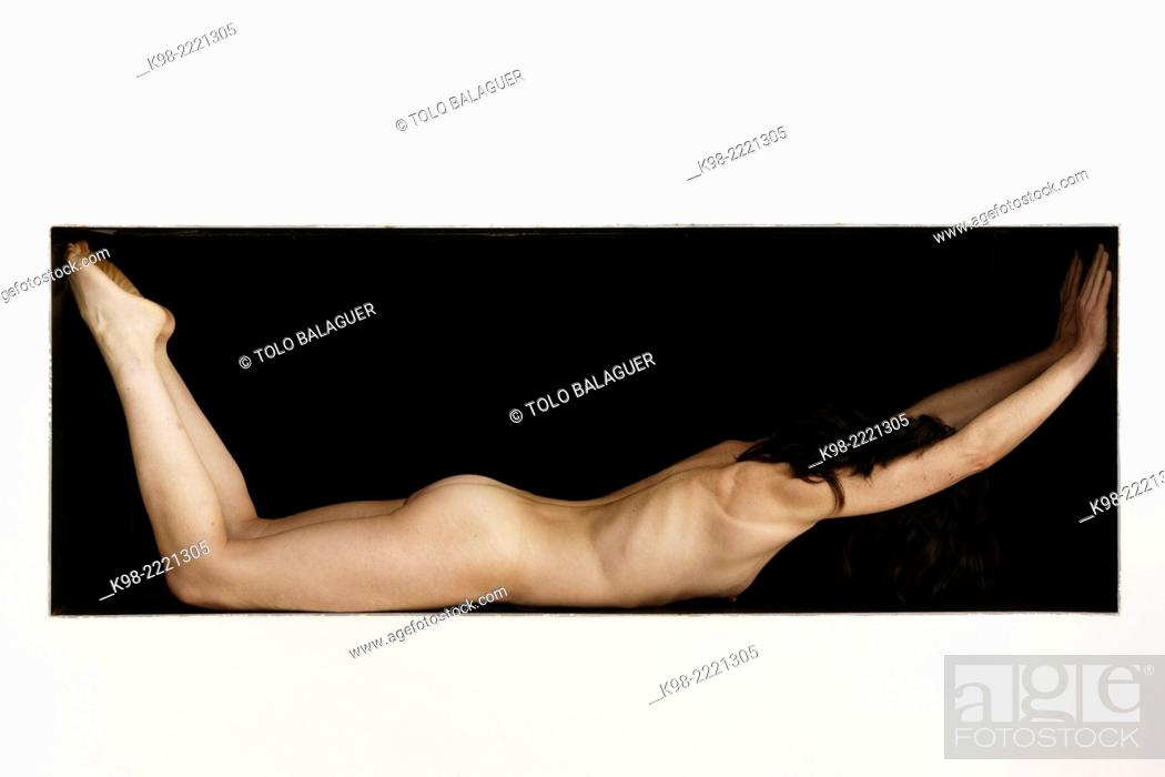 Stock Photo: naked woman in a rectangle, 40 years, Mallorca, Balearic Islands, Spain.