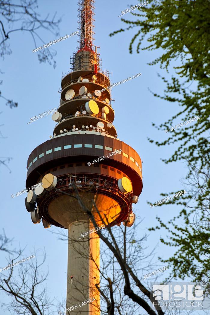 Stock Photo: Torrespaña (Spanish television tower), Communications tower, Pirulí, Madrid, Spain, Europe.