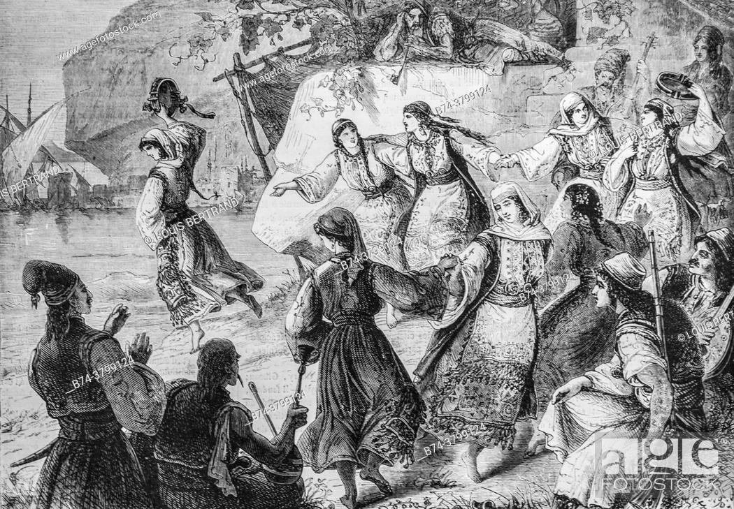 Photo de stock: the romaika greek national dance, the illustrious universe, editor michel levy 1868.