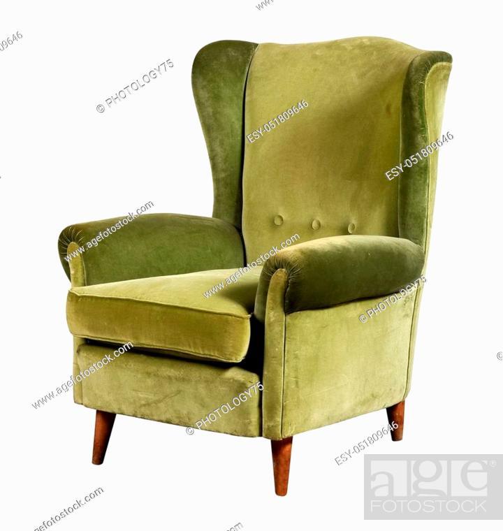 Green Velvet Armchair Of Old Design On Short Legs With High Back