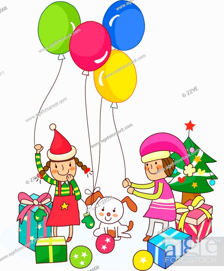 Stock Photo: Two girls playing with balloons near Christmas presents.