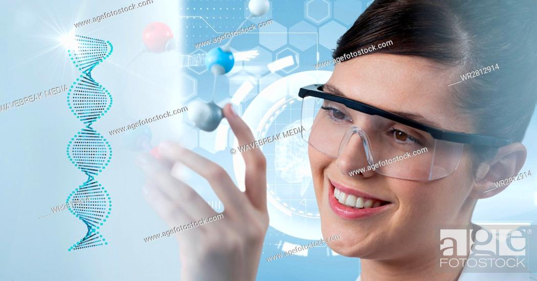 Stock Photo: Scientist wearing protective eyewear.