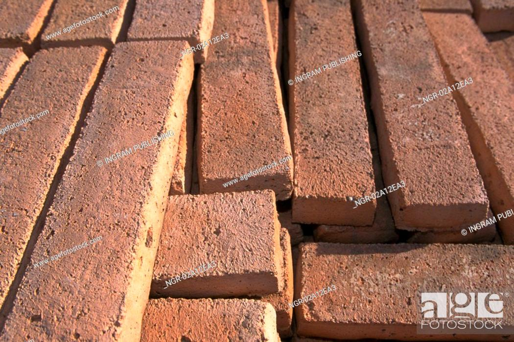 Stock Photo: Close-up of brick panels on the ground.