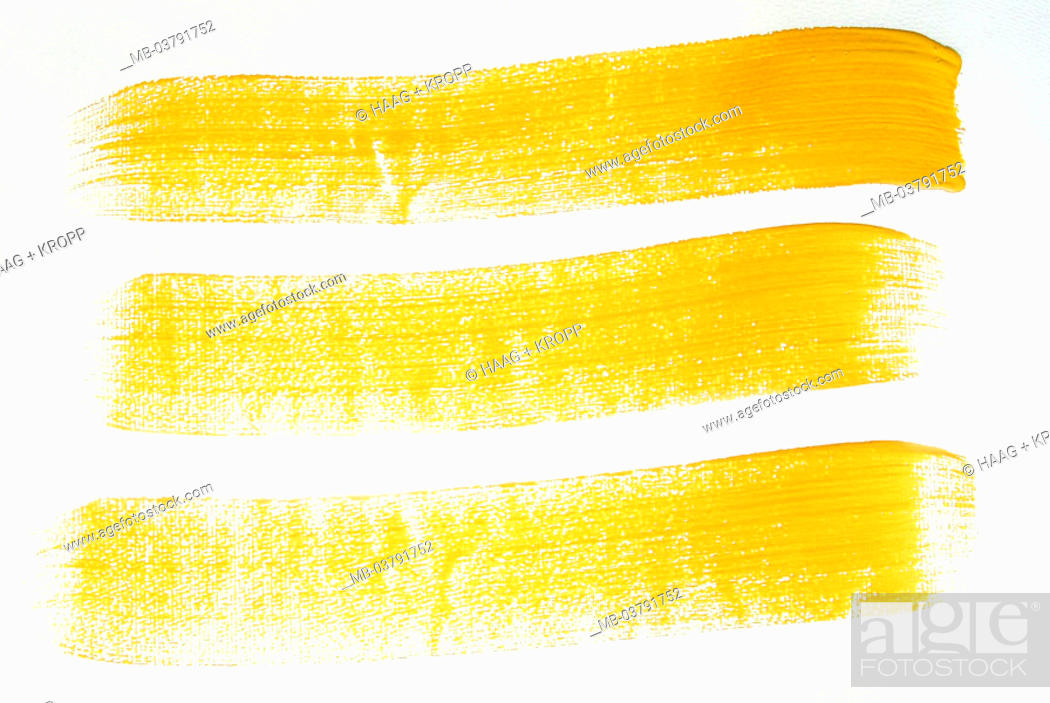 Stock Photo Wall Strokes Three Yellow Color Lines Symbol Painter Performances Paints Colors Housing Renovation