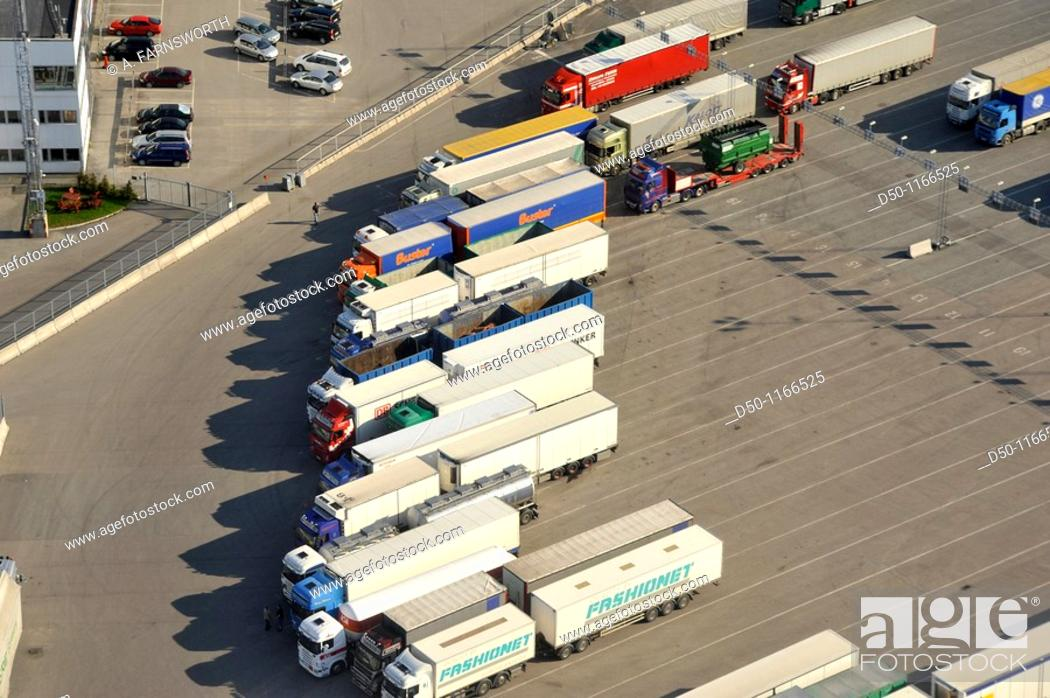 Stock Photo: Aerial view of trucks at port going to to Finland and Estonia, Kapellskär, Sweden.