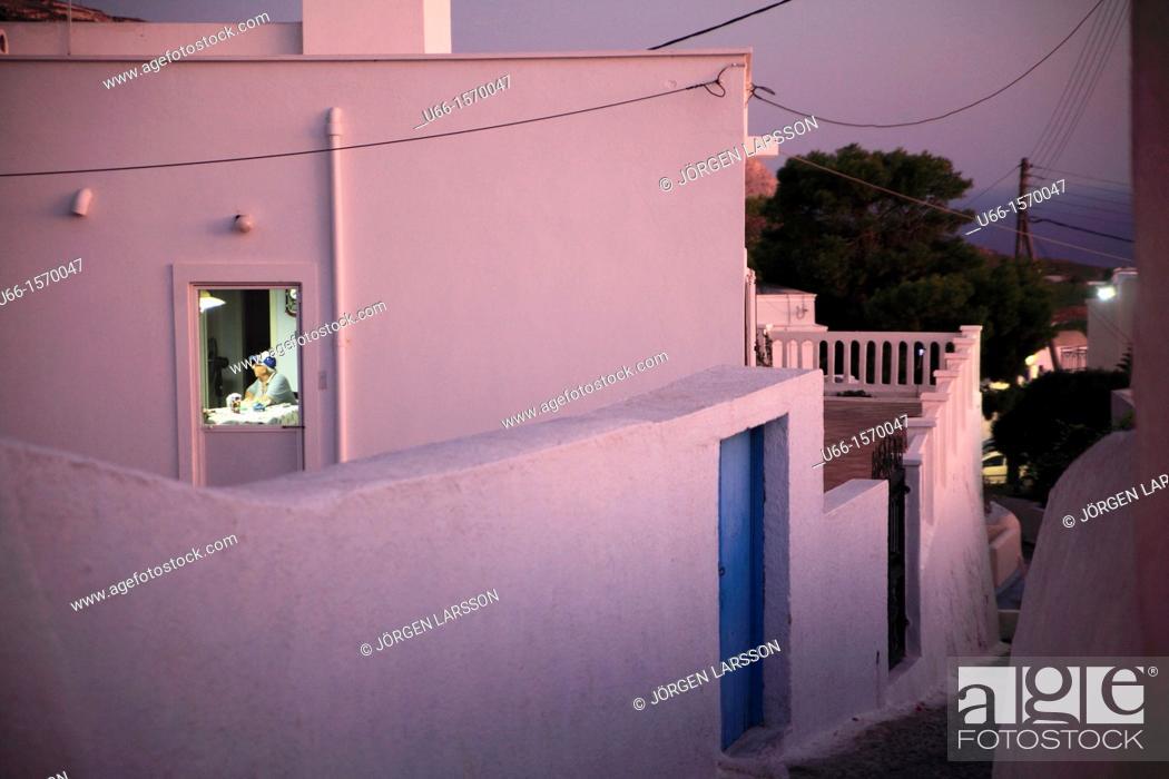 Stock Photo: Pyrgos Santorini Greece.