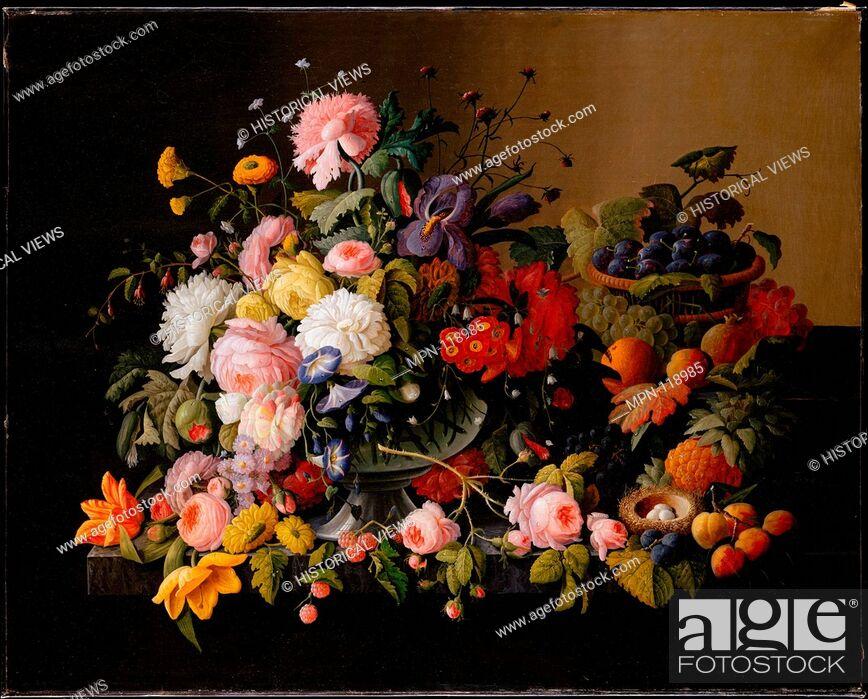 Imagen: Still Life: Flowers and Fruit. Artist: Severin Roesen (American (born Prussia), Boppard-am-Rhein 1816-72?); Date: 1850-55; Medium: Oil on canvas; Dimensions: 40.