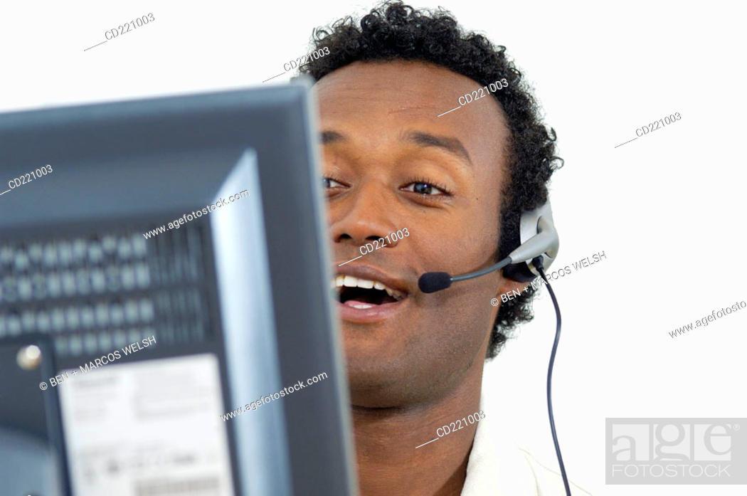 Stock Photo: Black man, telecommunication.