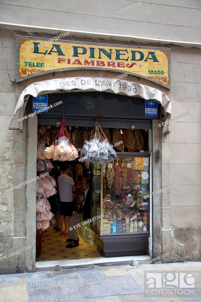 Stock Photo: La Pineda Xarcuteria in the Gothic Quarter.