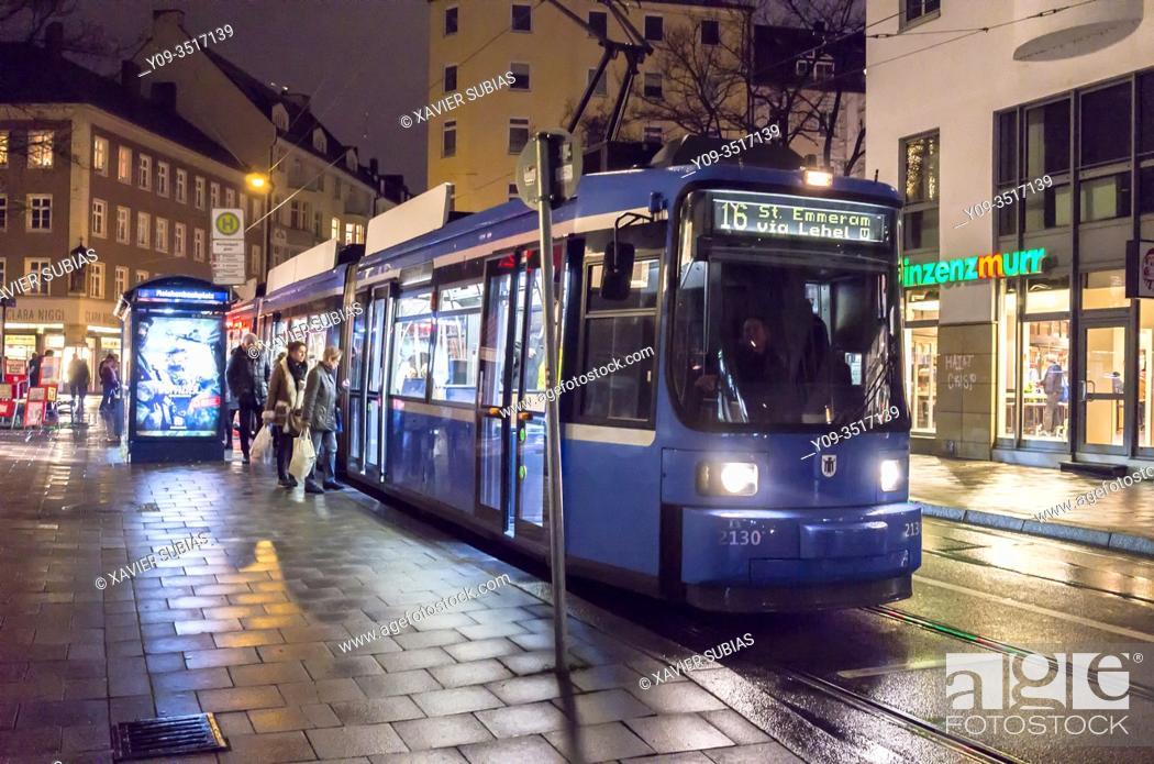 Stock Photo: Tram, Reichenbachplaz, Munich, Bavaria, Germany.