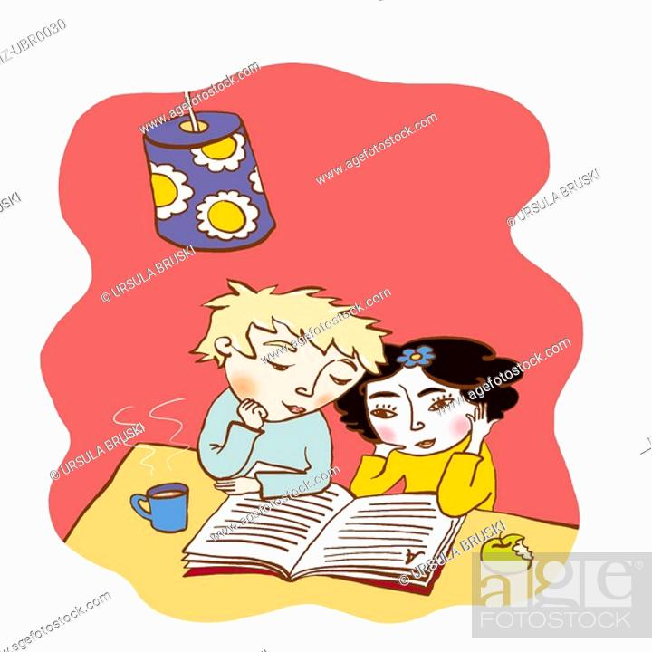 Stock Photo: Two young children reading a book together.