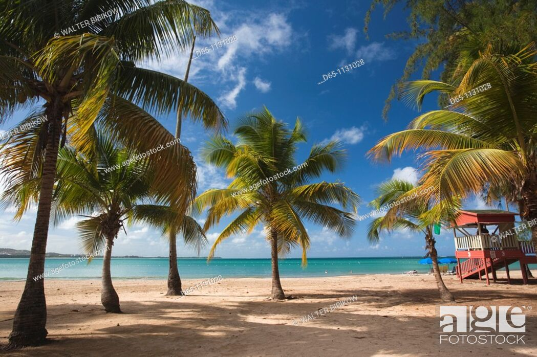 Stock Photo: Puerto Rico, East Coast, Luquillo, Playa Luquillo Beach.
