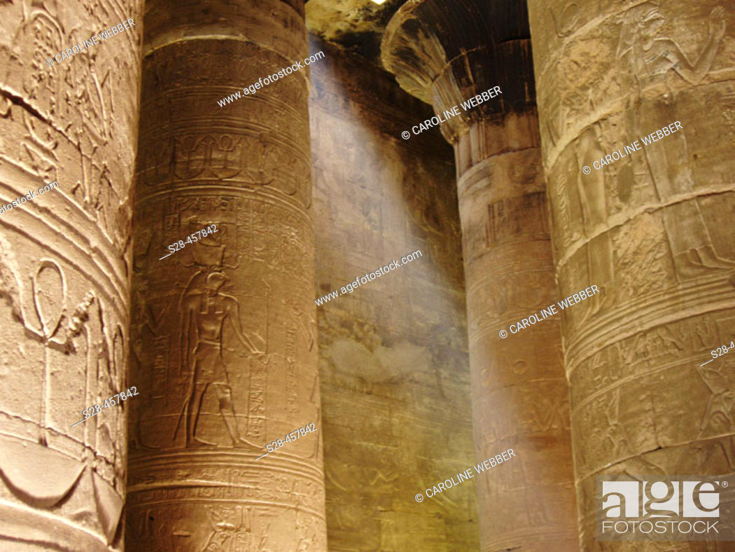 Stock Photo: Lightbeam at the Temple of Horus, Edfu, Egypt.