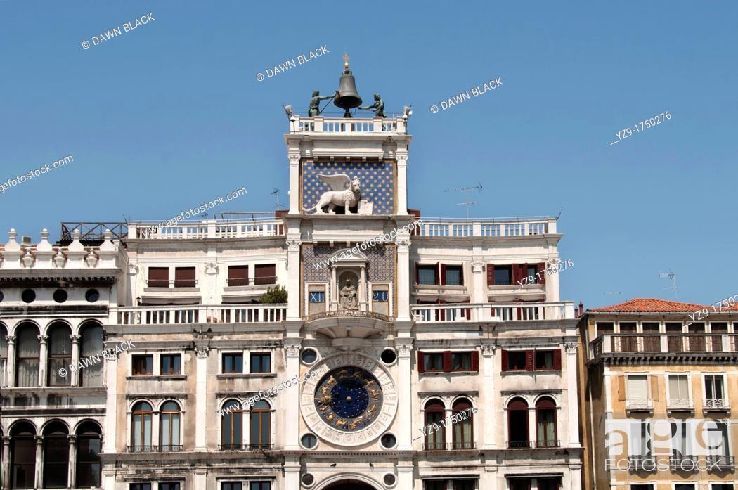 Stock Photo: Torre dell'Orologio, St  Mark's Square, Venice, Italy.