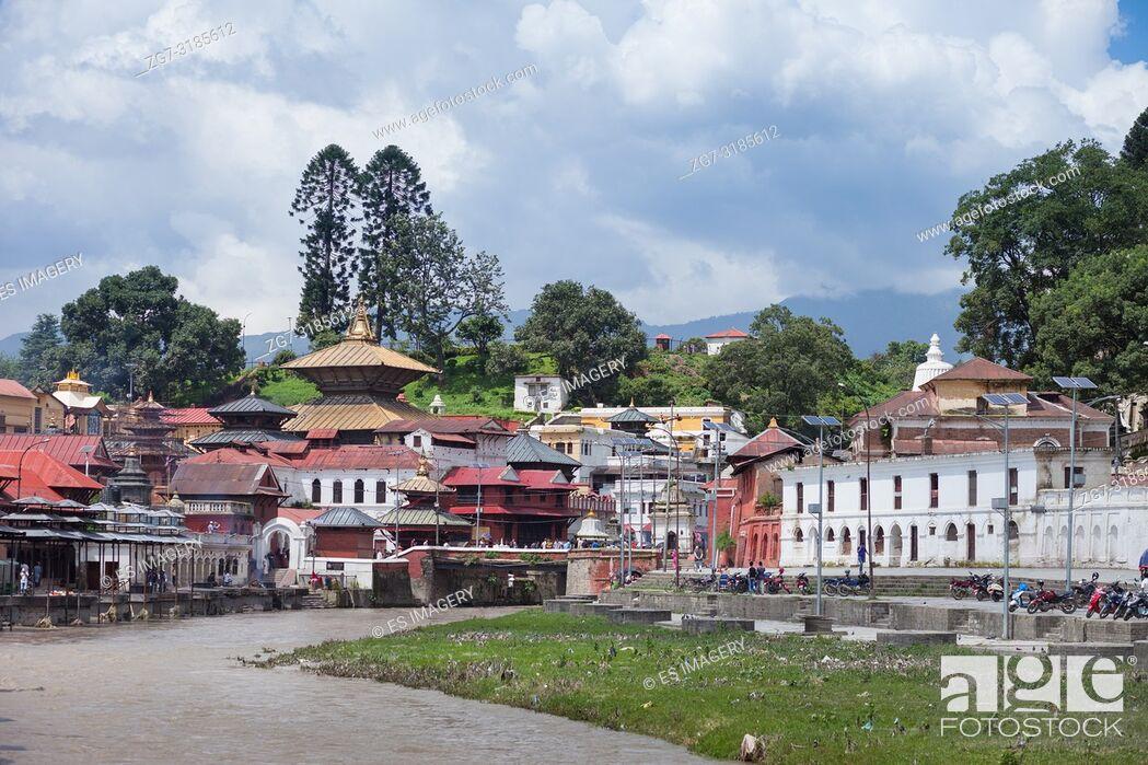 Stock Photo: Pashupatinath, a very sacred Hindu temple complex in Kathmandu, Nepal.