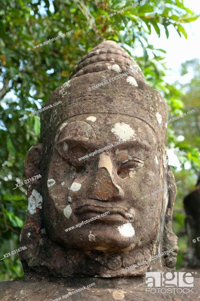 Stock Photo: Close-up statue of god, Angkor Thom, UNESCO World Heritage Site, Angkor, Siem Reap, Cambodia, Indochina, Southeast Asia, Asia.