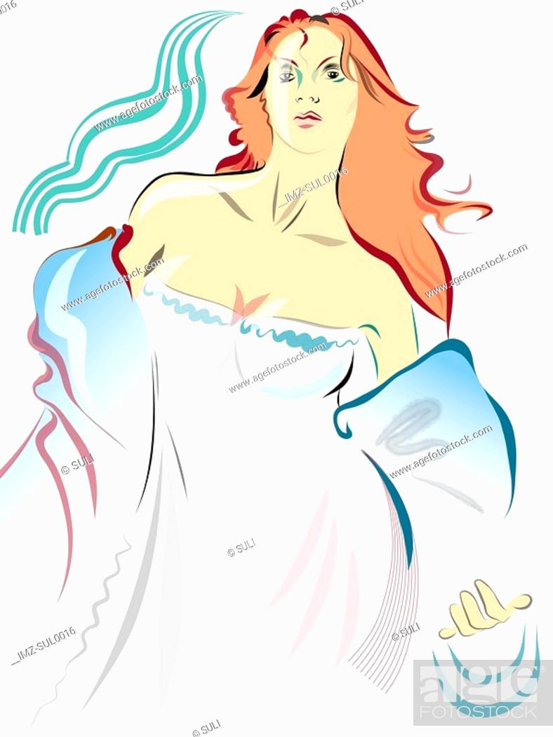 Stock Photo: Illustration of a woman in nightgown.