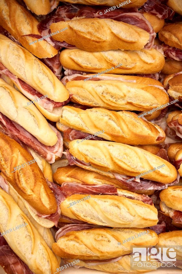 Stock Photo: Ham sandwich, Catering in congress, Kursaal Congress Palace, Donostia, San Sebastian, Gipuzkoa, Basque Country, Spain, Europe.