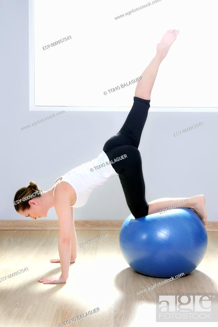 Stock Photo: pilates woman stability ball gym fitness yoga exercises girl.