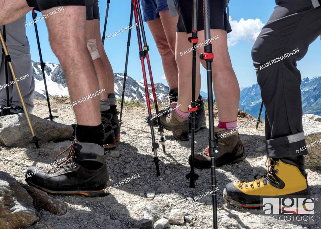 Stock Photo: France, Chamonix, Mountaineers at Le Tour.