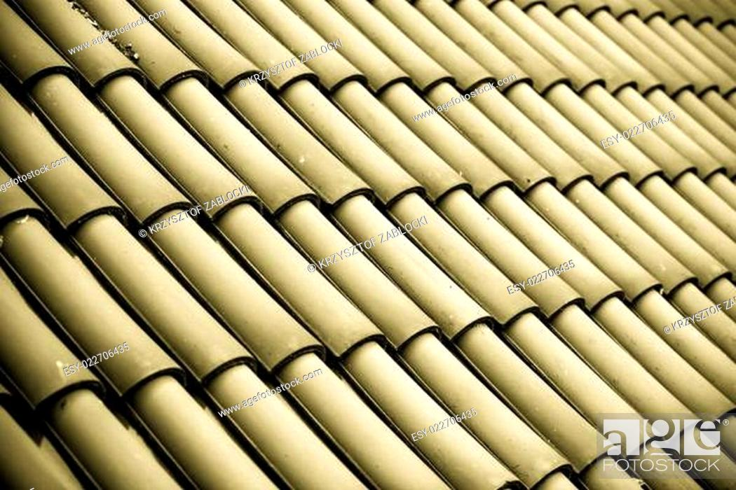 Stock Photo: Gray tiles roof texture architecture background.