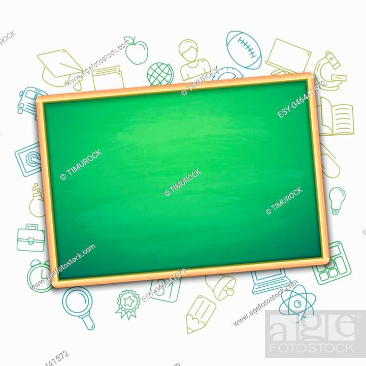 Stock Vector: Blank green school board and education symbols.