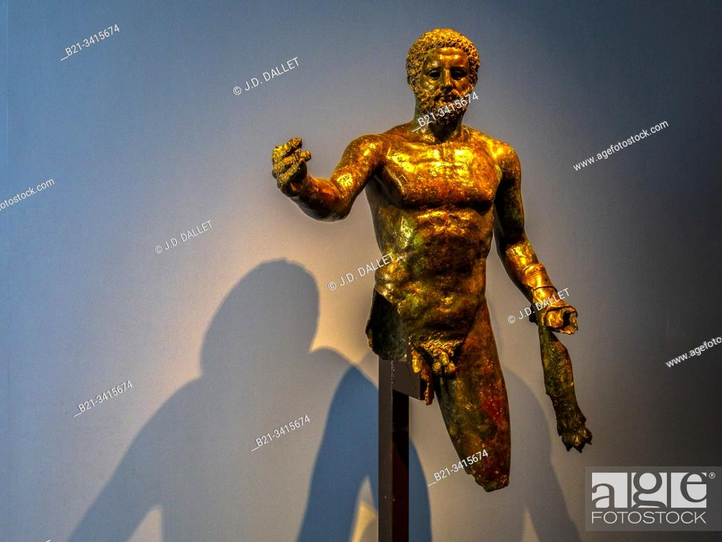 "Stock Photo: France, Nouvelle Aquitaine, Gironde, """"Musée d'Aquitaine"""" at Bordeaux. Staue of Hercules (3rd century ) found at Bordeaux."