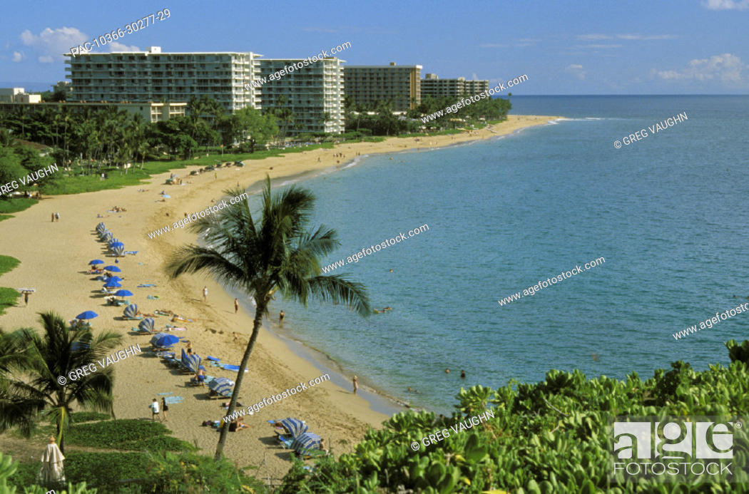 Hawaii Maui Kaanapali Beach Resort Hotels And People On