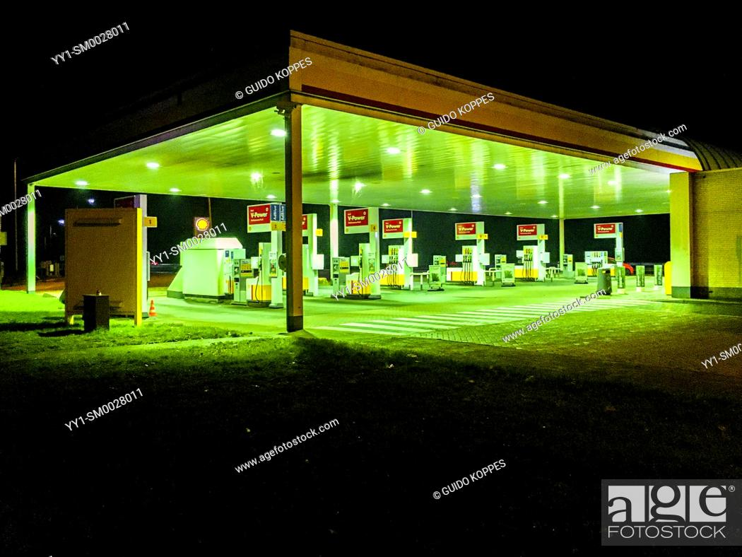 Stock Photo: Amsterdam, Netherlands. Gas & Fuel Station Alonside Highway A2 at Night.