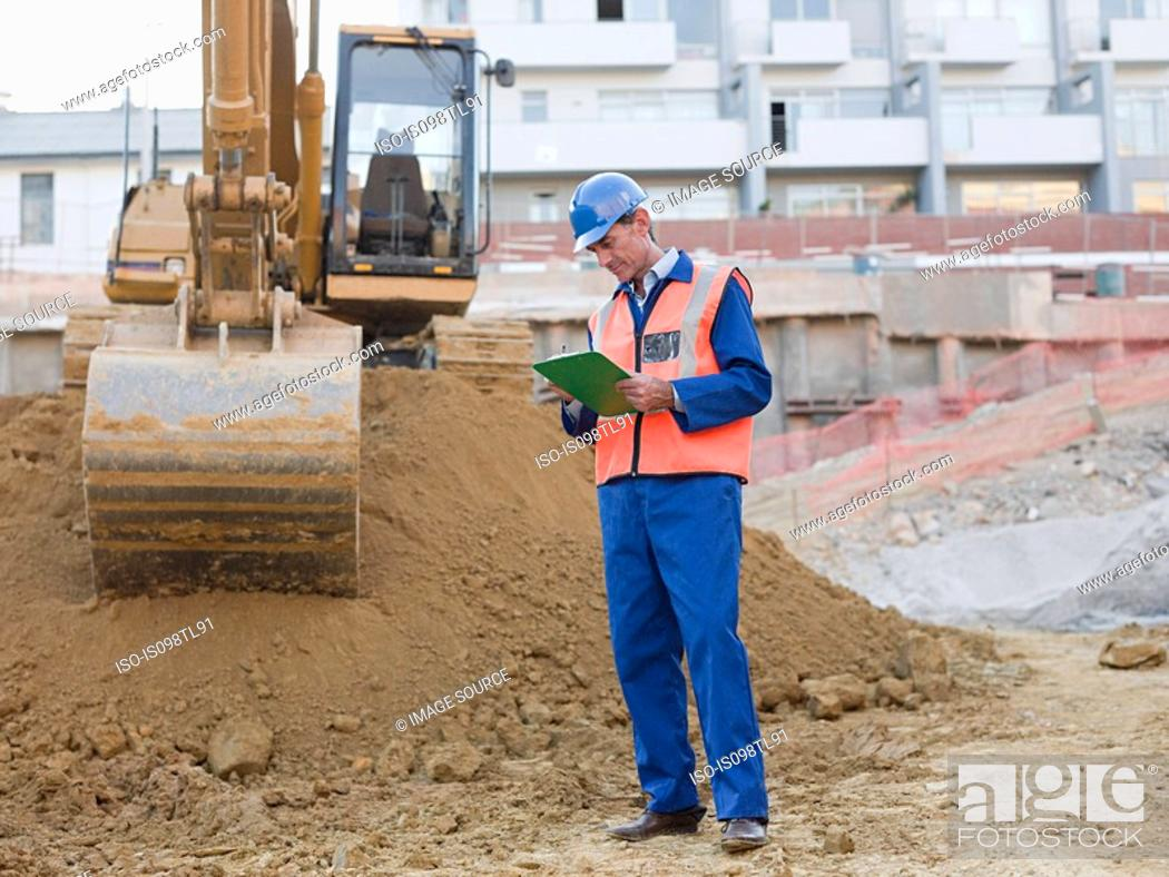 Stock Photo: Mature man on construction site.