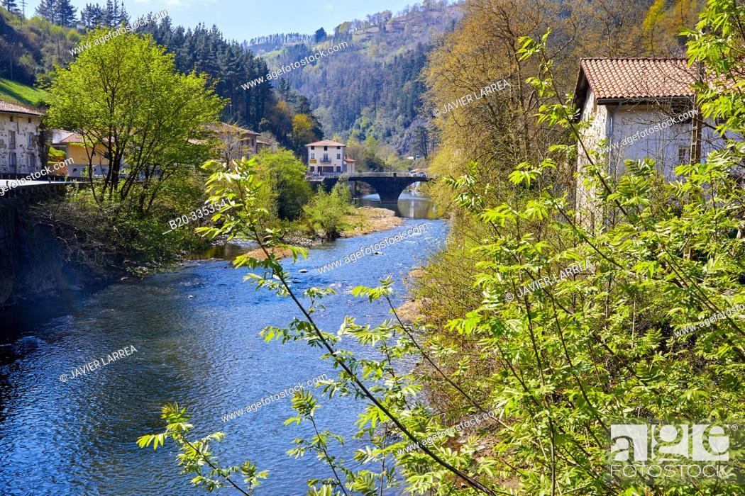 Stock Photo: Deva River, Alzola, Gipuzkoa, Basque Country, Spain.
