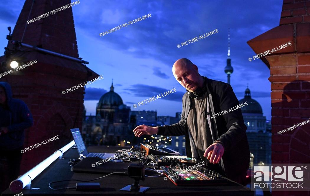 "Stock Photo: 06 July 2020, Berlin: DJ Moritz Rausch aka Rauschhaus will play on the roof of the Friedrichswerder Church as part of the project """"SPOT / berlin art sessions""""."